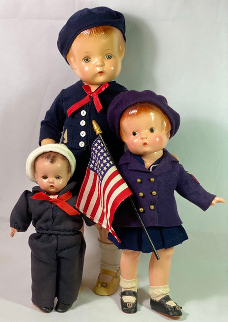 THREE 1930s Effanbee Patsy Family PATRIOT Composition Doll Collection