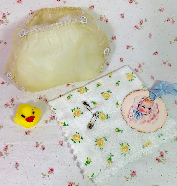 """Vintage 1950s Yellow Rubber Pants and Yellow Roses Diaper for 13"""" to 14"""" Dolls"""