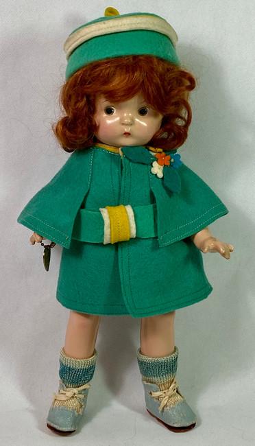 """1930s Effanbee 11"""" Patsy Jr Felt Applique Coat and Bonnet Set"""