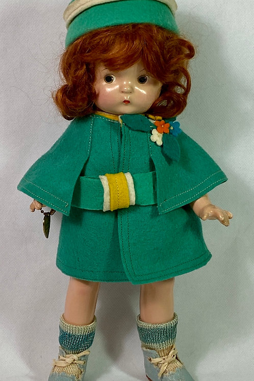 "1930s Effanbee 11"" Patsy Jr Felt Applique Coat and Bonnet Set"