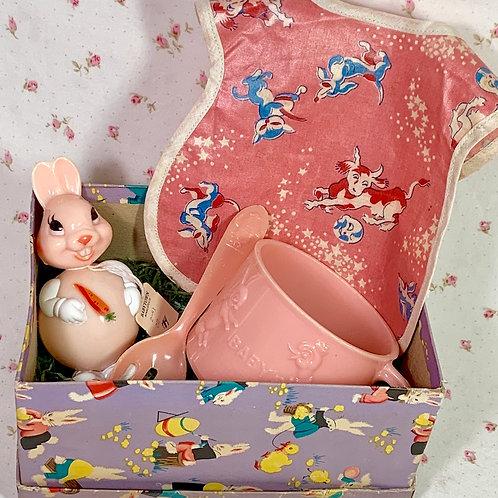 Vintage 1940's Bib, Celluloid Cup, Humpty Dumpty Spoon, Bunny Rabbit Toy