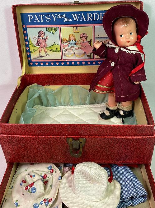 "1930s Effanbee 8"" Tinyette Doll FAO Schwarz Trunk Set and Wardrobe"