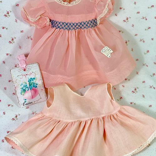 "Pink Organdy Vintage 1940's Dress Set for 15"" baby doll"