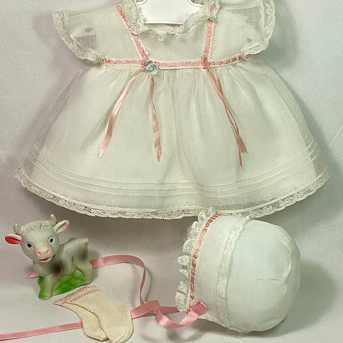 "1940s Original TAGGED Effanbee 15"" Dy-Dee Dress Set - White Organdy"
