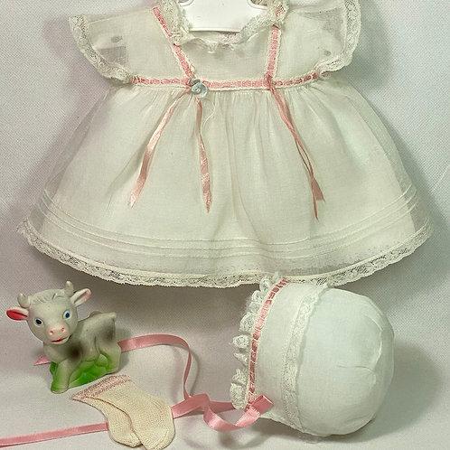 "1940s Original TAGGED Effanbee 15"" Dy-Dee Dress Set - White Organdy"