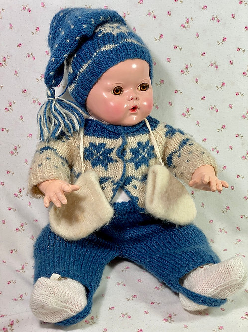 "Couture Vintage Hand Knit Snowsuit for Effanbee 20"" Dy-Dee Lou Doll"