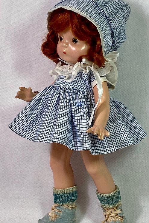 "1930s Effanbee 11"" Patsy Kin / Patsy Jr Original Blue Gingham Dress Set"