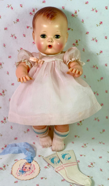 """Vintage Pink Organdy Easter Dress for 13"""" to 14"""" Tiny Tears"""