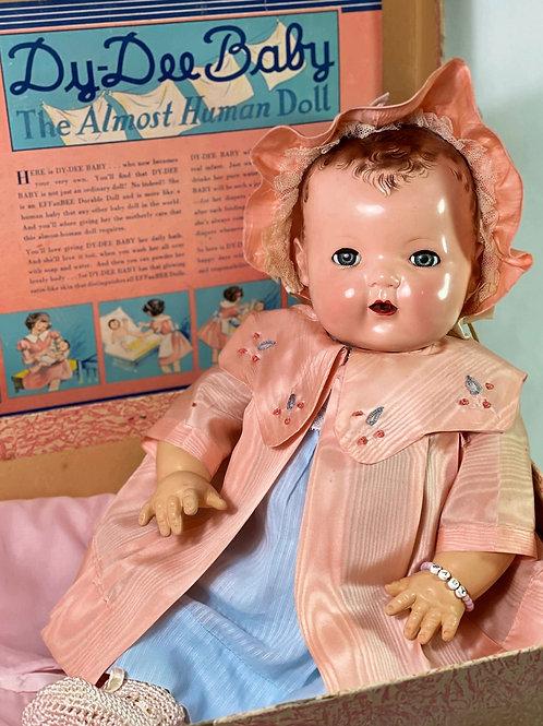 """Vintage 1930s Effanbee Dy-Dee Lou 20"""" Baby Doll in Trunk"""