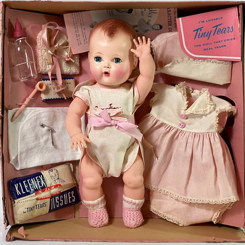 """1950s American Character 13"""" Tiny Tears Baby Doll in Box"""