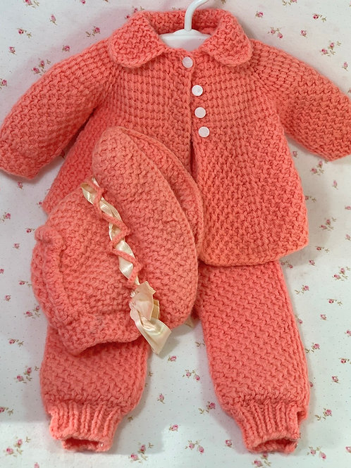 "Vintage Knit Pram or Snow Suit for 20"" Baby Dolls"