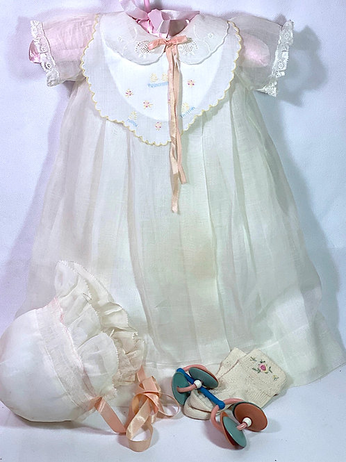 "1930s Original Effanbee 20"" Dy-Dee Lou Dress -- Christening Gown"