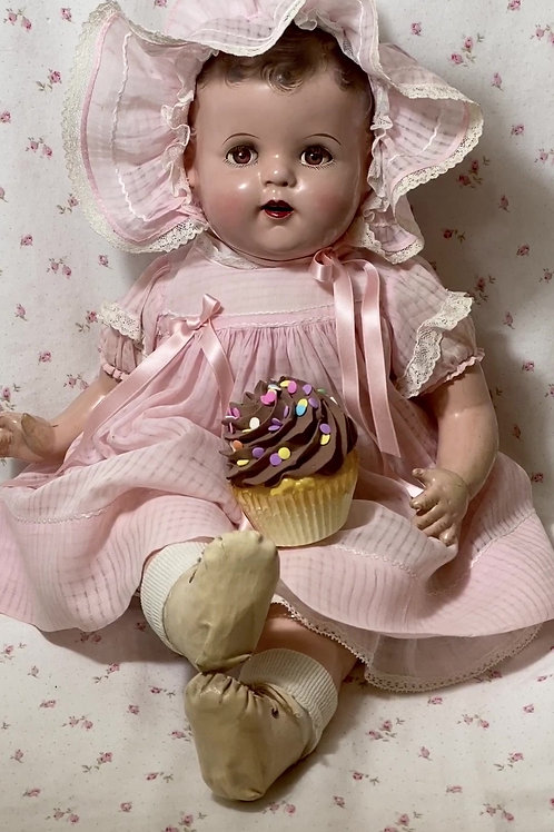 "RARE 1930s MUSIC BOX Ideal Compo 18"" Baby Beautiful Plays Happy Birthday"