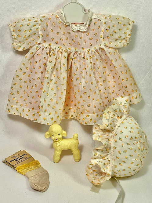 "1930s Original Effanbee 15"" Dy-Dee Dress Set - Yellow Flowers"