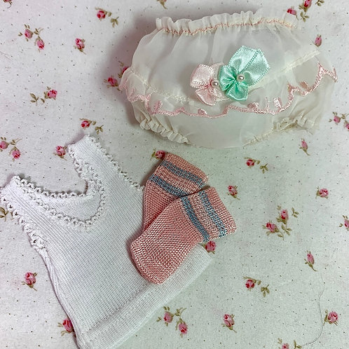 Vintage Organdy Party Underwear Set for Small Size Dolls