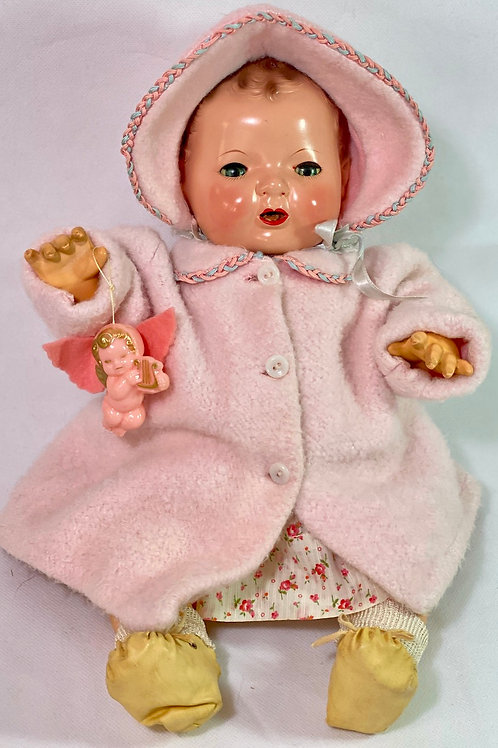 "Vintage 1940s Original Effanbee 15"" Dy-Dee Jane Baby Pink Eiderdown Coat"