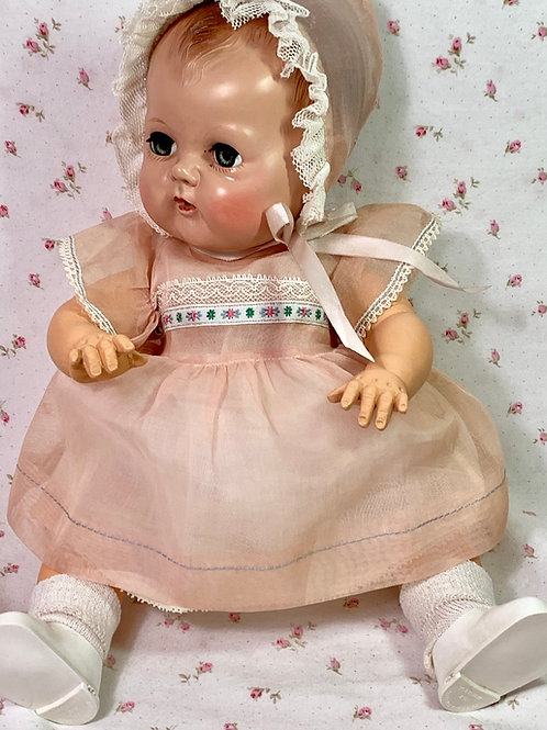 """Vintage 1940's Pink Organdy Party Dress for 15"""" to 16"""" Baby Dolls MINT"""