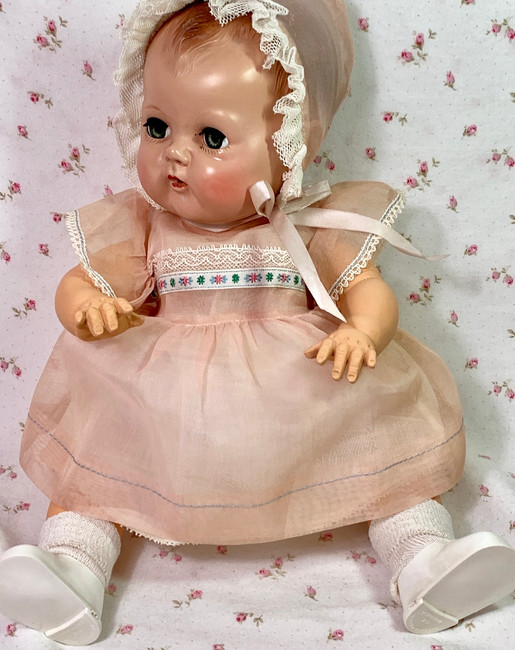"Vintage 1940's Pink Organdy Party Dress for 15"" to 16"" Baby Dolls MINT"