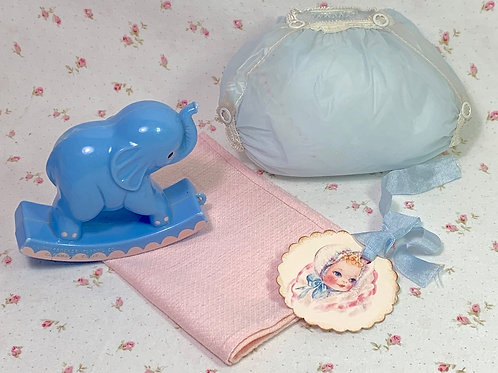 "Vintage 1950's Blue RUBBER PANTS and Pink Diaper for 13"" to 14"" Doll"