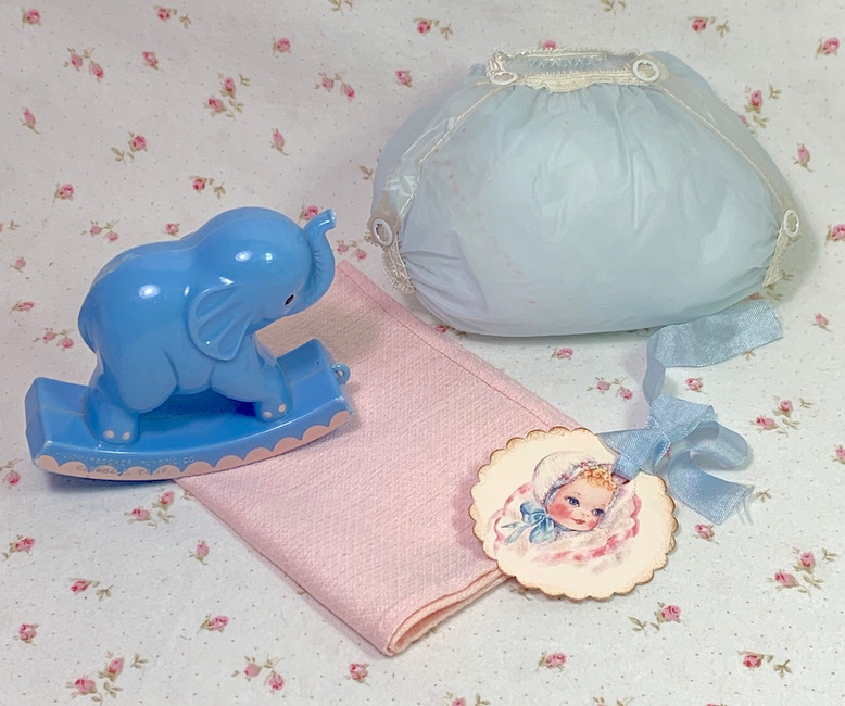 """Vintage 1950's Blue RUBBER PANTS and Pink Diaper for 13"""" to 14"""" Doll"""
