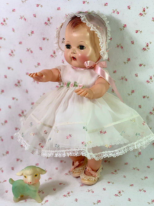 Vintage White Nylon Organdy with Embroidery Dress Set for Medium Dolls