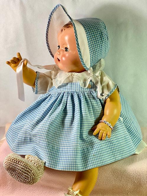 "1940s Original Effanbee 20"" Dy-Dee Lou Dress and Bonnet- Blue Gingham"