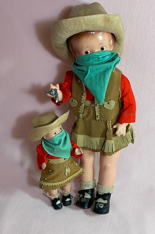 """Vintage 1928 Effanbee 15"""" Patsy and 7.5"""" Patsy Tinyette Cowgirls All Original"""