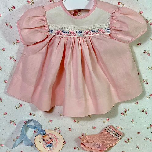 """Vintage 1950s American Character 15"""" Tiny Tears Baby Pink """"I LOVE YOU"""" Dress"""