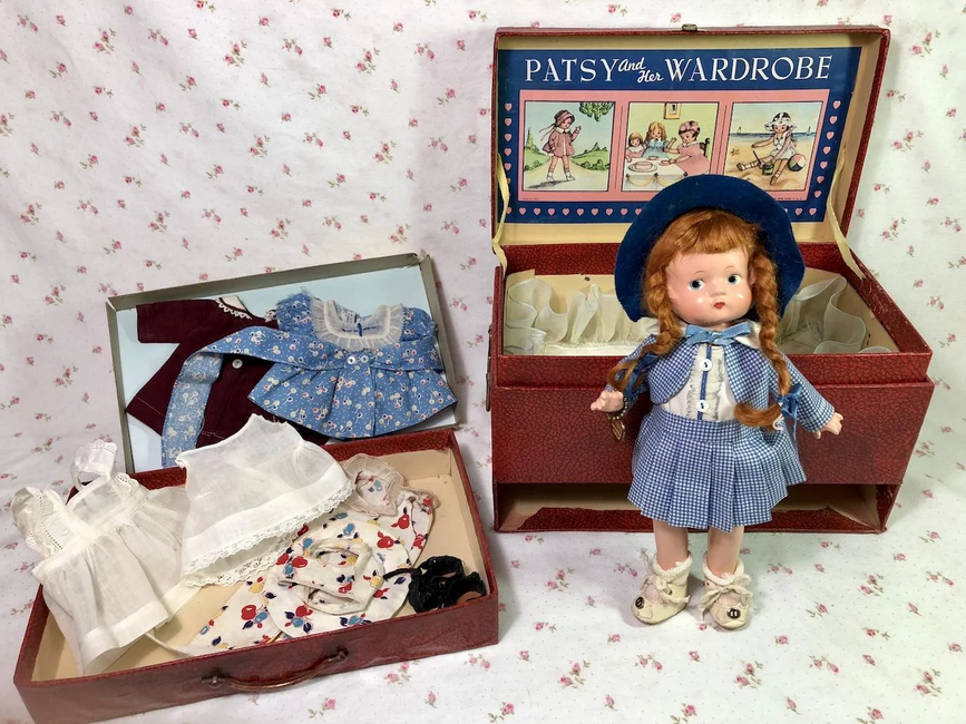 "PRISTINE 1930s Effanbee 9"" ANNE of GREEN GABLES Patsyette doll in RARE Travel Tr"
