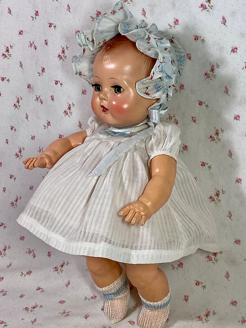 """Vintage White Dimity Dress with Bonnet for 13"""" to 14"""" Tiny Tears and Friends"""