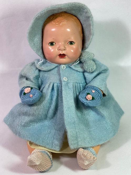 "Vintage 1930s Original Effanbee 15"" Dy-Dee Jane Blue Eiderdown Coat"