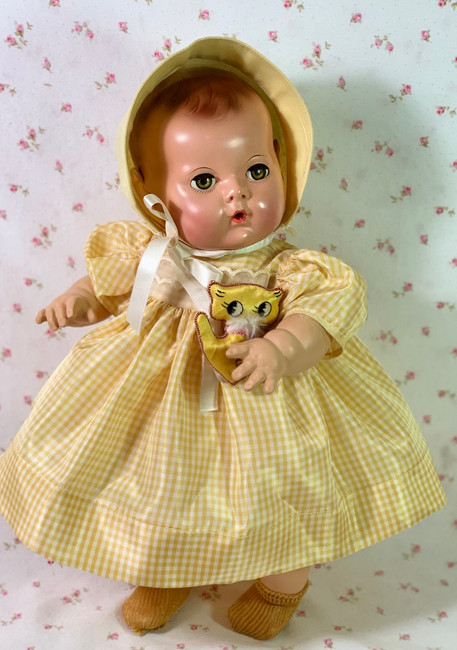 "Vintage 1950's Silk Taffeta Yellow Gingham Dress for 15"" to 16"" Dolls"