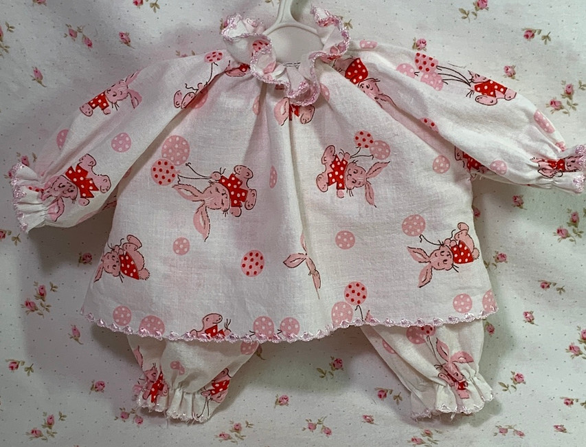 """Easter Bunny Pajamas for your 13"""" to 15"""" Baby Doll"""