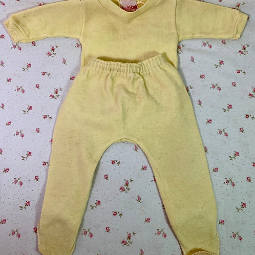"""Vintage Healthknit Yellow Footed Pajamas for 15"""" to 18"""" Tiny Tears Dy-Dee Dolls"""