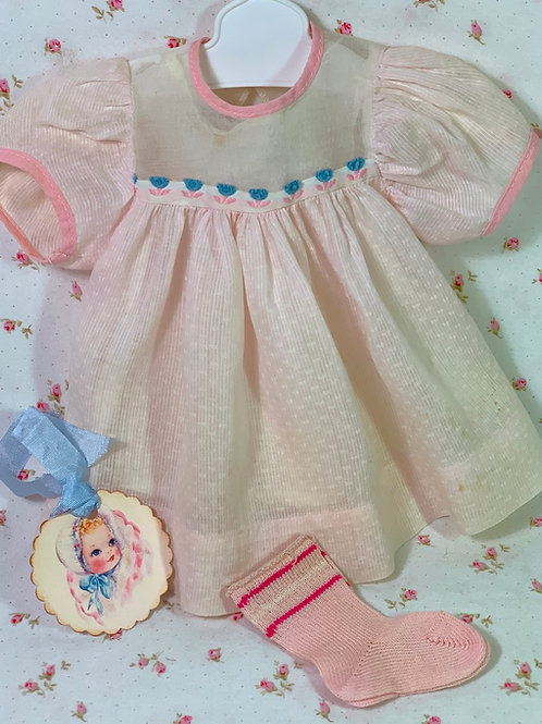 "Vintage 1950s American Character 15"" Tiny Tears Baby Pink DIMITY Dress"