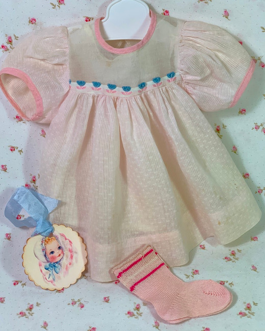 """Vintage 1950s American Character 15"""" Tiny Tears Baby Pink DIMITY Dress"""