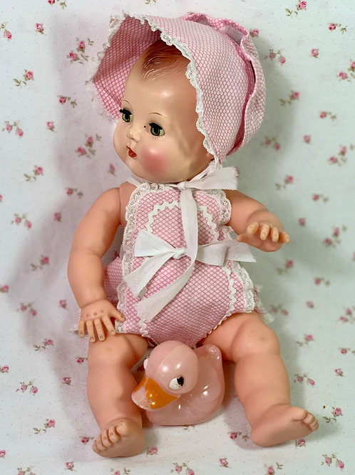 "Vintage Pink Gingham Sunsuit Set for 13"" to 14"" Baby Dolls"
