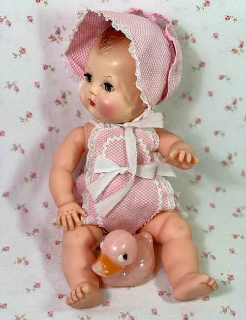 "Vintage Pink Gingham Sunsuit Set for 13"" to 14"" Baby Dolls"