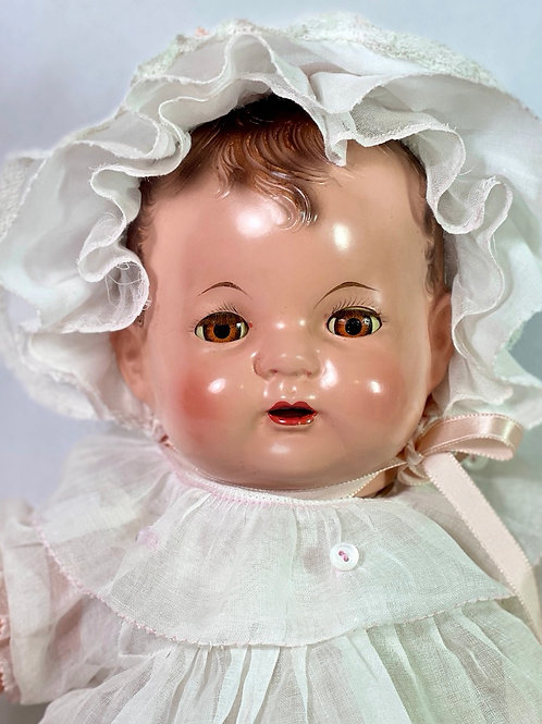 """1925 Effanbee 17"""" Baby Evelyn Composition Doll"""