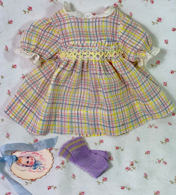 """Easter Pastel Organdy Dress with Smocking for 13"""" to 14"""" Dolls"""