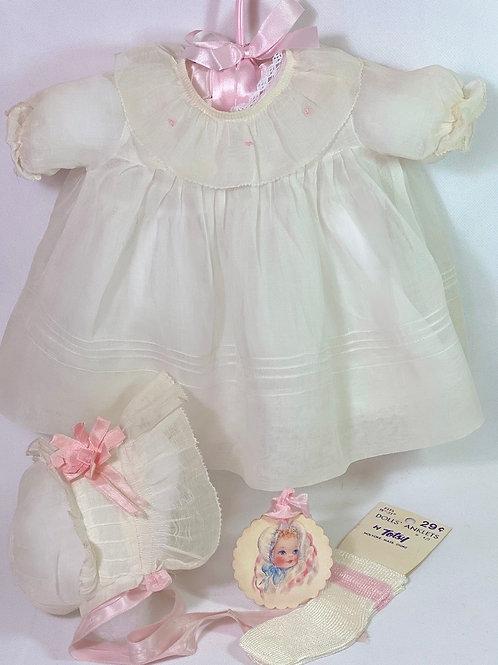 1940s Original Effanbee Dy-Dee Lou Dress Set -- White Organdy