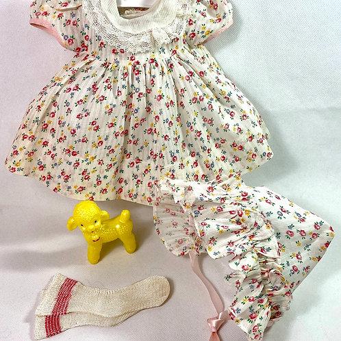 "1940s Original Factory Effanbee 15"" Dy-Dee Dress Set Red Flowers"