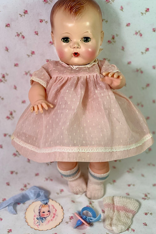 "Vintage 1950's Pink Dotted Swiss Organdy Dress for 13"" to 14"" Tiny Tears doll"