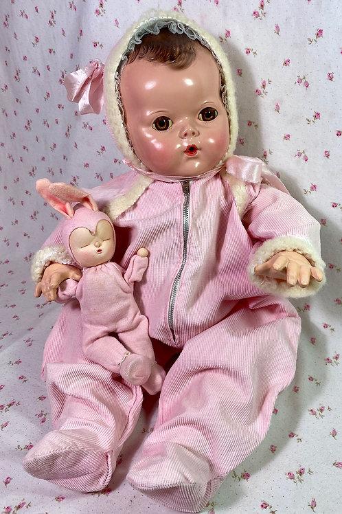 "1940s Pink Corduroy Snowsuit for Effanbee 20"" Dy-Dee Lou Doll"