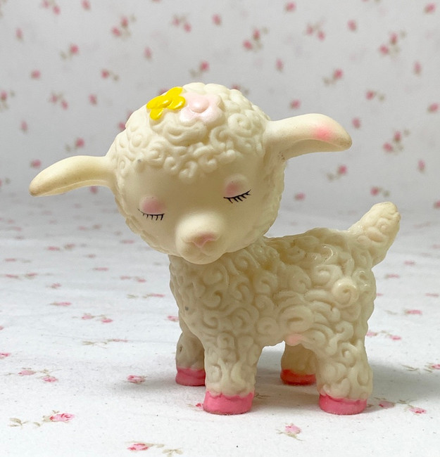 Tiny 1950's Vintage Rubber Lamb Doll Toy