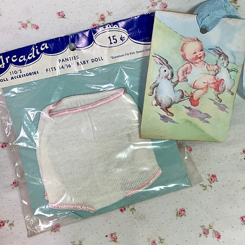 "Vintage NOS Rib Knit Panties for 13"" to 16"" Baby Dolls"
