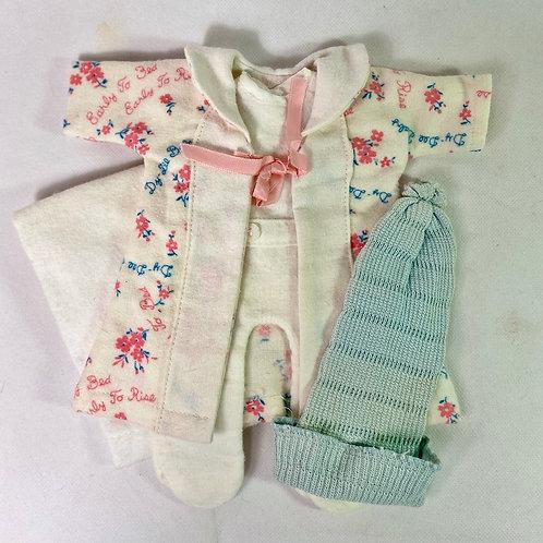 """#2 Vintage 1930's Effanbee 11"""" Dy-Dee Ette Doll Robe, Pajamas, Pinning Blanket"""