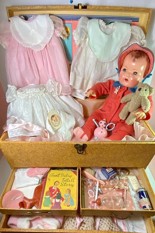 "1930s Effanbee 20"" Dy-Dee Lou Mold 1 Baby Doll in Trunk Original Layette"