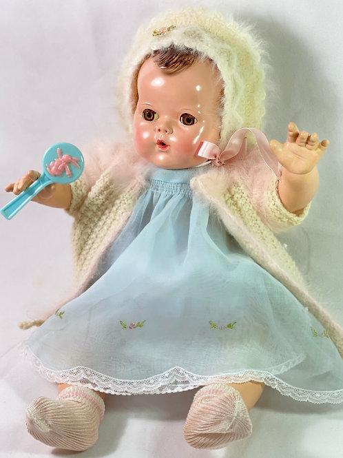 """1940s Vintage 20"""" Effanbee Brunette Dy-Dee Louise Baby MOLD 2"""
