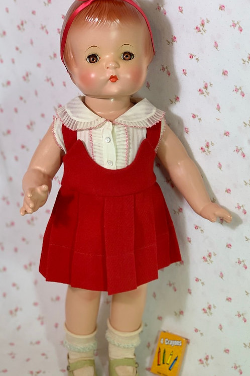 VERY RARE 1930s Tagged Glad Togs Patsy Ann RED Wool School Days Dress Set